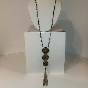 Necklace Antiqued Gold tone. Medallions Tassel Nwt